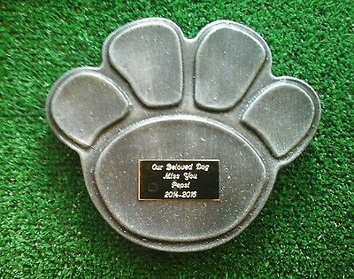 Dog  Pet Memorial/headstone/stone/grave marker/memorial paw with plaque 4 lines