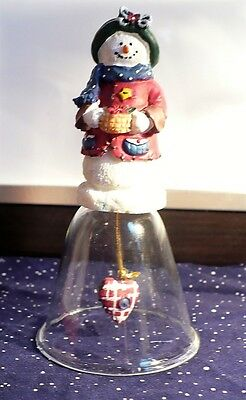 "Christmas Glass Bell Snowman by Giftco ~ 4 1/2"" tall"