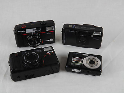 Lot of 4 Camera 35mm and Digital Samsung Nikon Fuji Non Working for Parts Repair