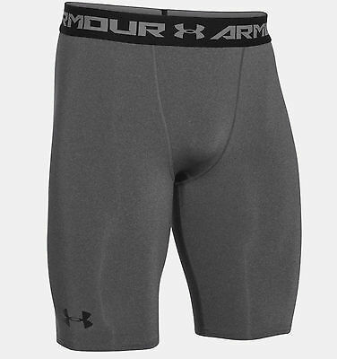 """Under Armour Heatgear Armour 9"""" Long Compression Shorts  Carbon Heather  New."""