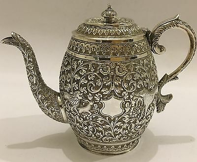 ANTIQUE REPOUSSE CHASED ISLAMIC PERSIAN INDIAN KUTCH SILVER TEAPOT (Hunt Scene)