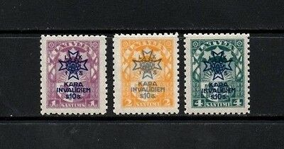 Latvia 1923 Charity Issue - War Invalids   SG.112/114 Mint (Hinged) Set of 3
