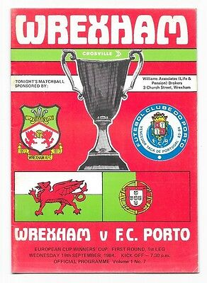 Wrexham v Porto, 1984/85 - Cup Winners' Cup 1st Round Match Programme