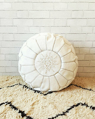 Moroccan Leather Pouf Ottoman Footstool Handmade White 40%DISCOUNT CHRISTMAS