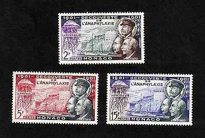 Monaco 1953 Anaphylaxis complete set of 3 values (SG 475-477) MNH