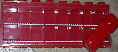 Lego Red Storage Minifigure Display Case For 16 Minifigures w/ legs
