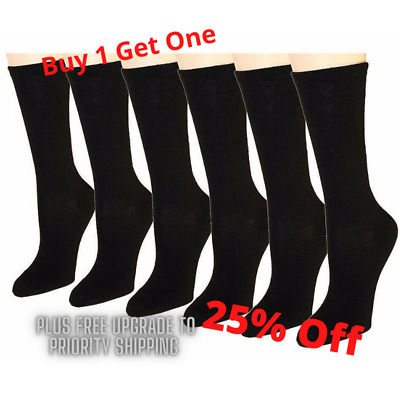 6-12 Pairs Women's Socks Cotton Crew Ladies Black Dozen Pack Size 9-11