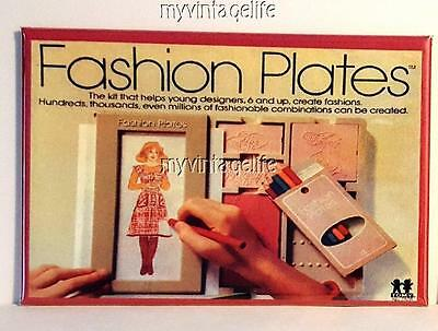 "TOMY FASHION PLATES  Fridge MAGNET  2"" x 3"" art NOSTALGIC VINTAGE"