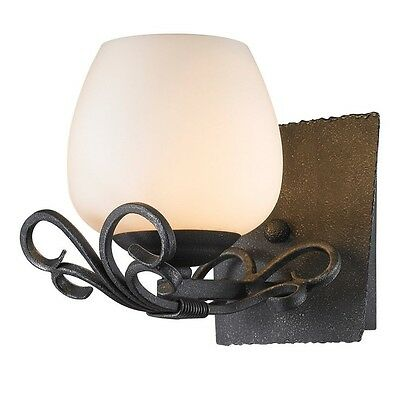 Hand forged Scrollwork Black Iron Finish Wall Sconce Light Traditional Spanish
