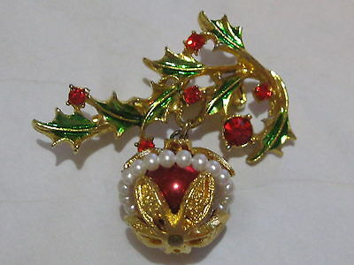 Vintage Holly Berries & Charm Dangle Ornament Christmas Pin - Holiday Brooch