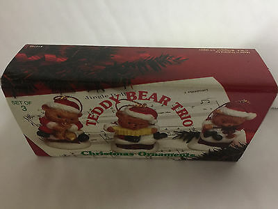 "Teddy Bear Trio,  Christmas Ornaments 1 1/2"" Tall, 3 Musically Themed Bears"