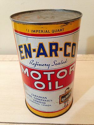 Antique Enarco Motor Oil Tin Can, Imperial Quart Canada Gas Pump Sign White Rose