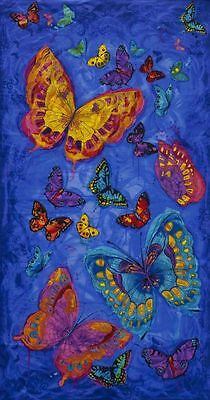 Monterey Butterfly Blue Patchwork Fabric Panel  - 7770828