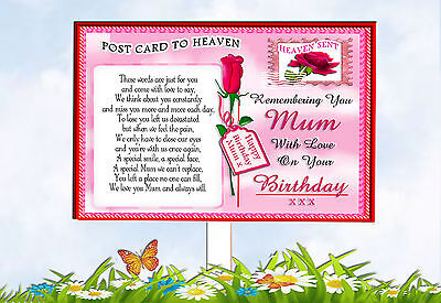 Mum Memorial Birthday Graveside Keepsake Postcard To  Heaven Card & Holder