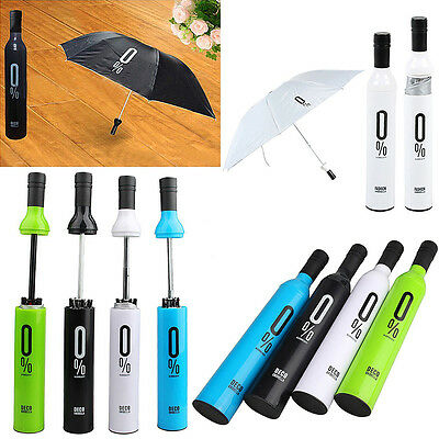 Portable Creative Moda Plegable Botella Vino Umbrella Sol-lluvia Navidad GE