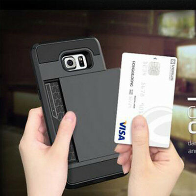 For Samsung GALAXY S7/Edge Hybrid Shockproof Rugged Card Holder Case Cover Hard