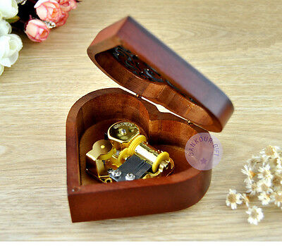 """Play """"Once Upon a December"""" Wooden Heart Shape Music Box With Sankyo Movement"""