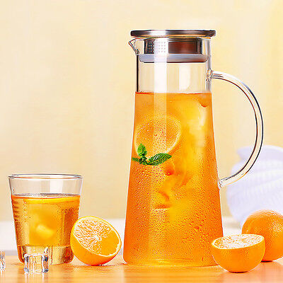 Glass Water Carafe Iced Soda Pitcher Teapot Stainless Steel Lid Infuser 1.5L/50O