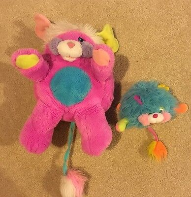 """Vintage 1986 Popples Lot - Large Pink 12"""" Prize Popples & Small 4"""" Blue Popples"""