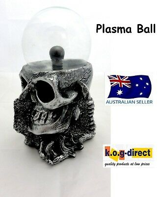 Gothic Black And Silver Claw Holding Skull Plasma Ball Electric Hw-44