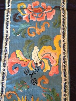 Antique Chinese Hand Embroidered Embroidery Silk Panel Textile FIGURAL BATS?