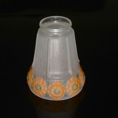 Vintage French Frosted Glass Lamp / Ceiling Shade, Flowers