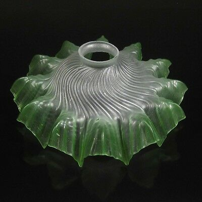 Vintage French Frosted Glass Ceiling Shade, Green, Ruffled Edges, Fluted Spiral