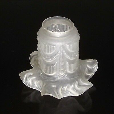 Vintage French Frosted Glass Lamp, Ceiling Shade, Garlands, Ruffled Edges