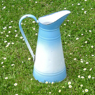 Vintage French Enamelware Body Pitcher, Blue and White Enamel