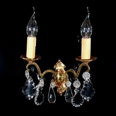 Vintage French Bronze Sconce with Pendeloque Crystal Prisms