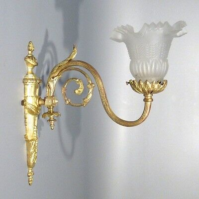 Large Antique French Neoclassic Gilded Bronze Sconce, Frosted Glass Shade