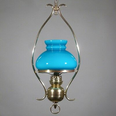 Antique French Hanging Lamp, Chandelier, Turquoise Blue Opaline Glass Shade