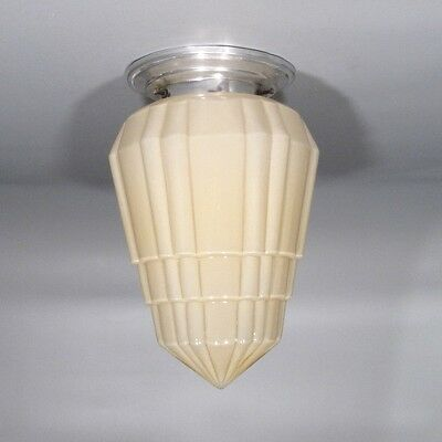 Vintage French Art Deco Skyscraper Ceiling Fixture, Chandelier Glass Globe Shade