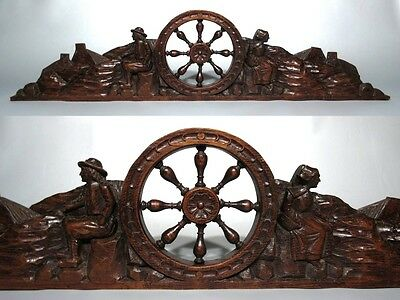 Vintage French Hand Carved Wooden Pediment Brittany, Couple, Traditional Costume