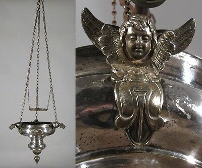 Antique French Silver Plate Tole Church Chandelier Sanctuary Lamp, Angels