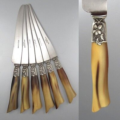 Antique French Art Nouveau Dinner Knives, Horn Handles & Silver Collars, Stamped