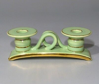 Vintage French Majolica Candlelabra, Celadon Green and Gold