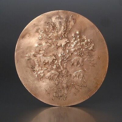 VintageFrench Large BronzeMedal Bas-Relief, Agriculture, Signed Demarchi