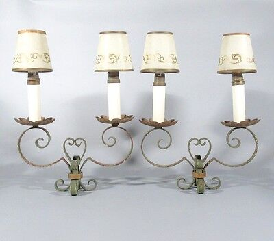 Pair of Vintage French Mid-Century Wrought Iron Tole Candelabra Table Lamps