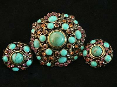 Set Joan Rivers Turquoise Cabochon Pink Crystal Brooch Pin And Clip Earrings Box