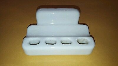 SALE!  Antique white Porcelain Tooth brush Tooth paste Holder Retro deco