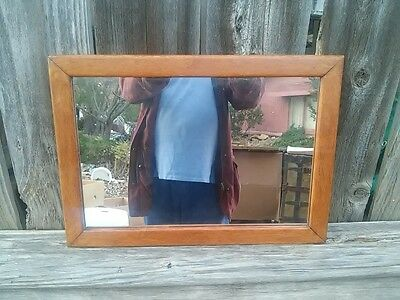 Antique arts and crafts mission style oak mirror