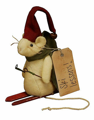 Primitives By Kathy SKI LESSONS Christmas MOUSE Ornie Ornament Mice Winter Snow