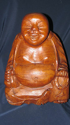 Genuine Teak LAUGHING BUDDHA HOLY MAN MONK Seated Asian Thailand Made 28CmT