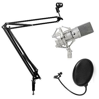 Auna Pc Usb Cardioid Studio Microphone & Wind Screen With Boom Arm Desk Clamp