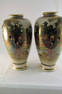 Soko China Pair of Vases Hand Painted Vintage Gold Accents