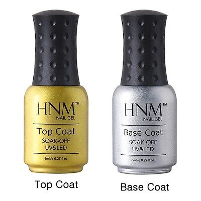 BASE e TOP HNM 8ML UNGHIE SOAK OFF GEL NAIL CURA UV DI COLORE SMALTO COLORE COAT