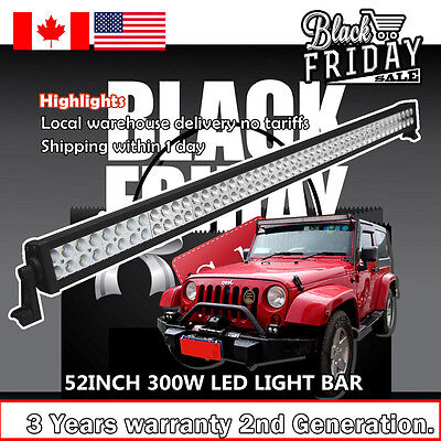52 inch LED Light Bar Spot Flood Combo ATV SUV 4WD Jeep Ford Off Road Truck 50