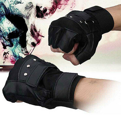 Mens Black Soft Sheep Leather Driving Motorcycle Biker Fingerless Warm Gloves