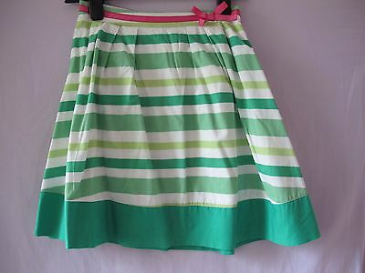 Aged 11/12 Yrs Mini Boden Green Cotton Striped Skirt Knee Length Fully Lined